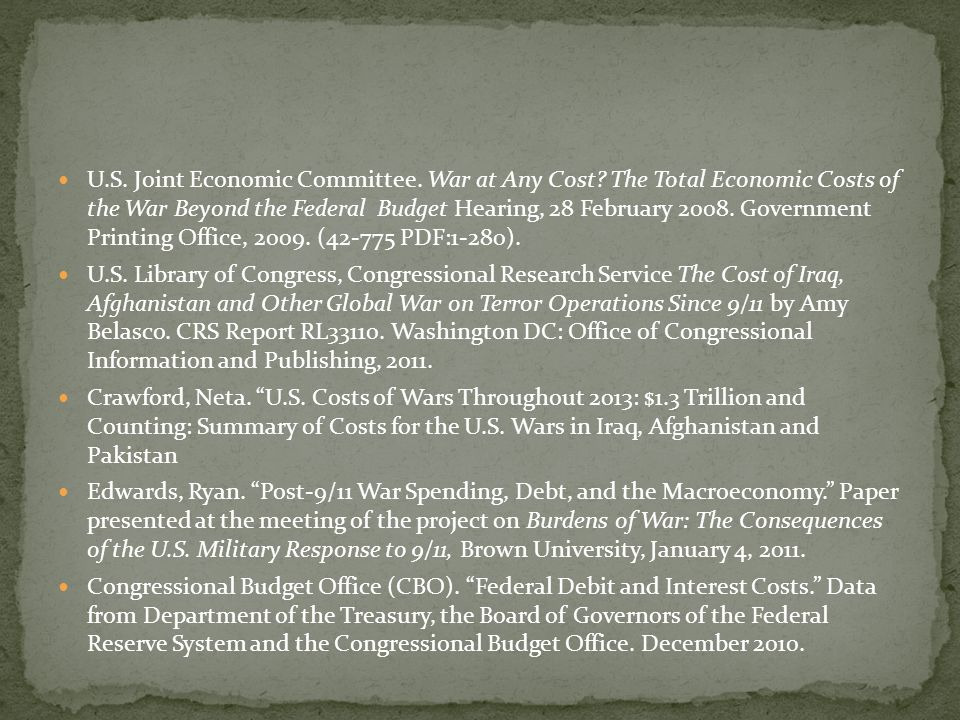 U. S. Joint Economic Committee. War at Any Cost