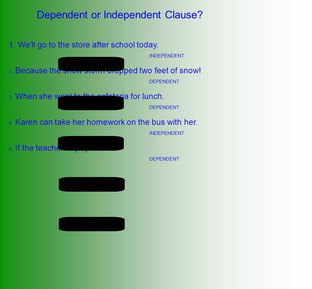 Dependent or Independent Clause