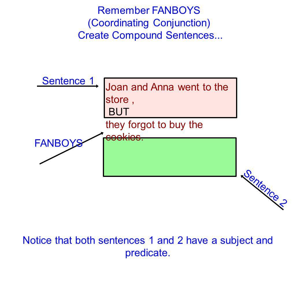 (Coordinating Conjunction) Create Compound Sentences...