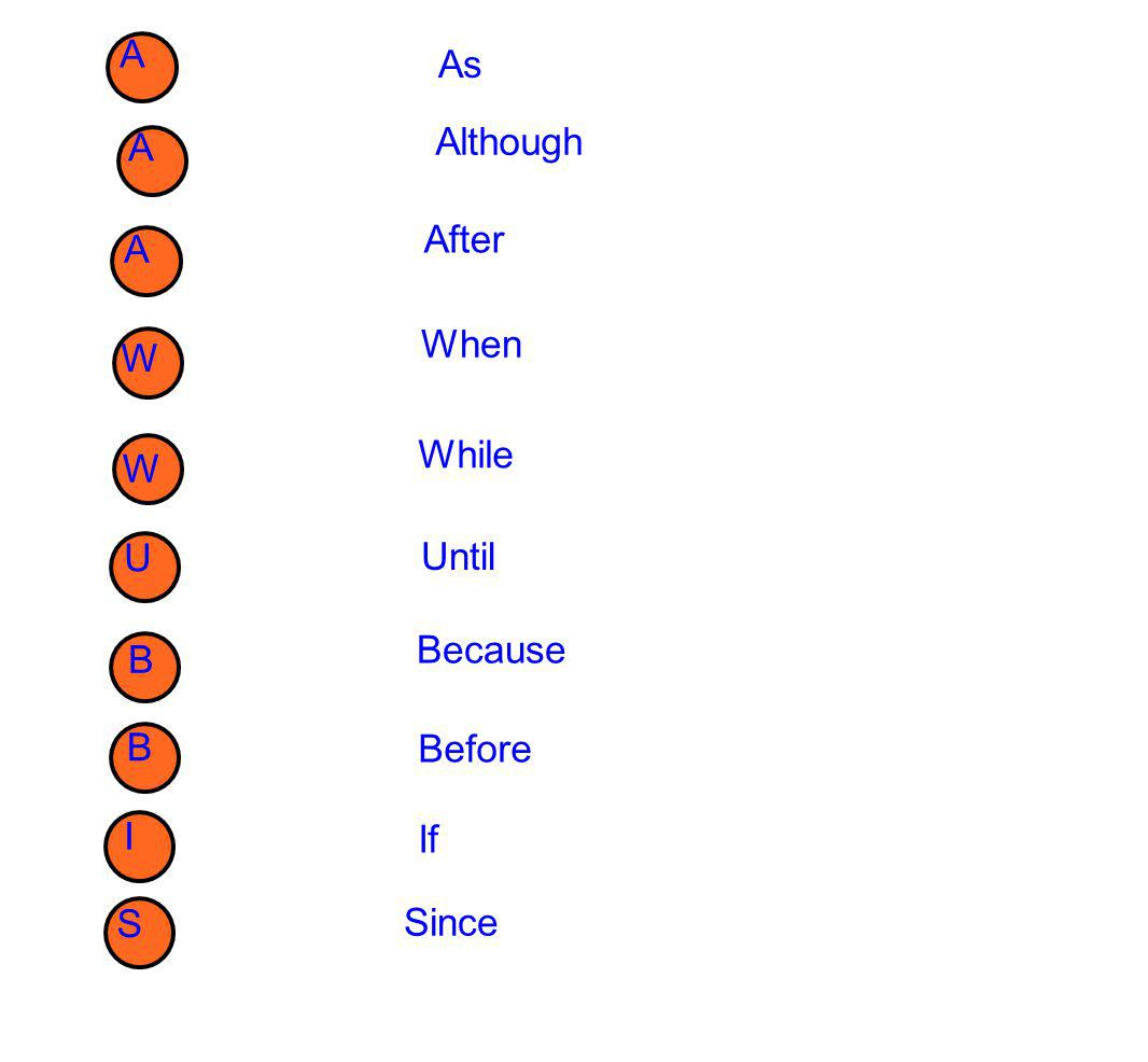 A As A Although A After W When W While Until U B Because B Before I If S Since