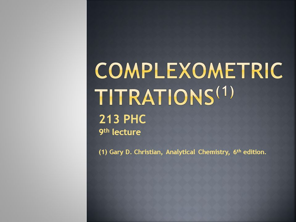 Complexometric Titrations(1)