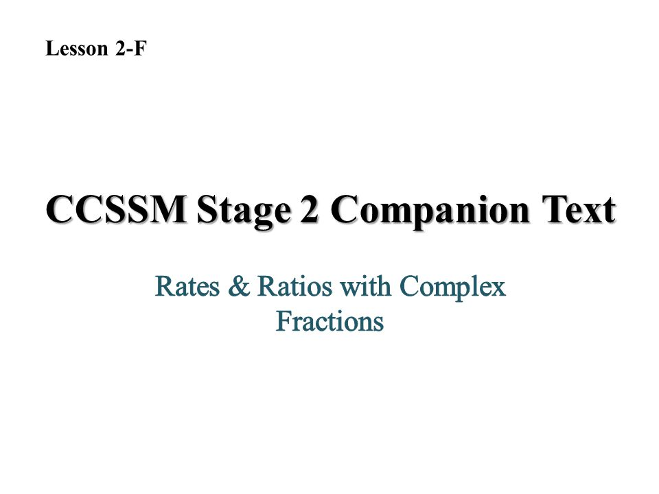 CCSSM Stage 2 Companion Text