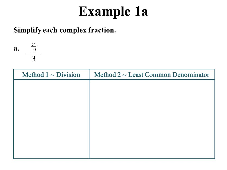 Method 2 ~ Least Common Denominator