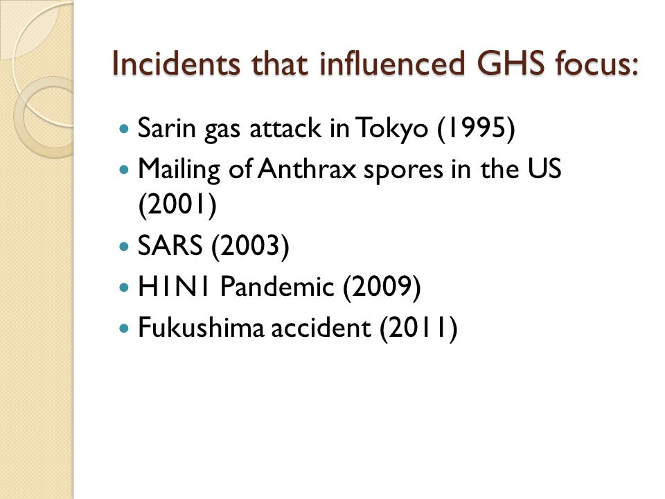 Incidents that influenced GHS focus: