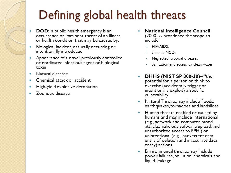 Defining global health threats