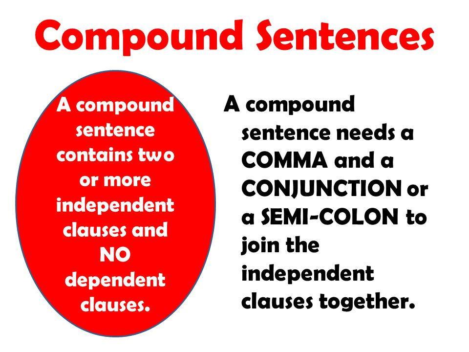 Compound Sentences A compound sentence contains two or more independent clauses and NO dependent clauses.