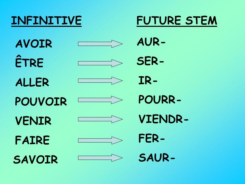 INFINITIVE FUTURE STEM. AUR- AVOIR. SER- ÊTRE. IR- ALLER. POURR- POUVOIR. VIENDR- VENIR. FER-