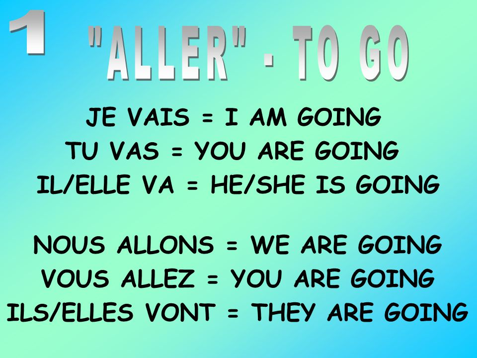 1 ALLER - TO GO. JE VAIS = I AM GOING. TU VAS = YOU ARE GOING. IL/ELLE VA = HE/SHE IS GOING. NOUS ALLONS = WE ARE GOING.