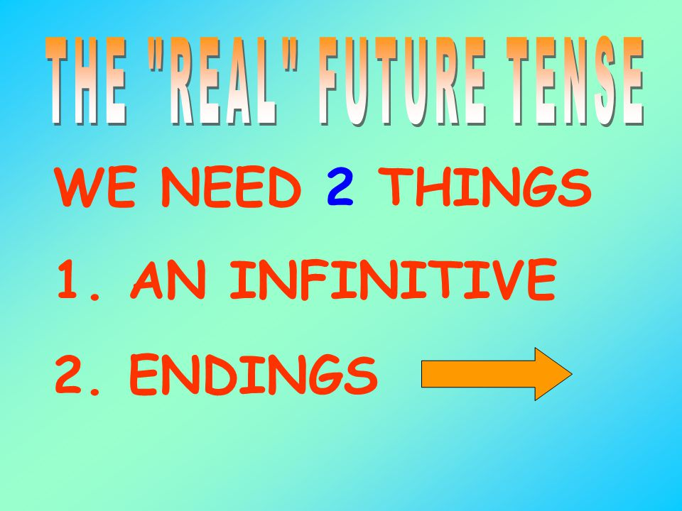 THE REAL FUTURE TENSE WE NEED 2 THINGS 1. AN INFINITIVE 2. ENDINGS