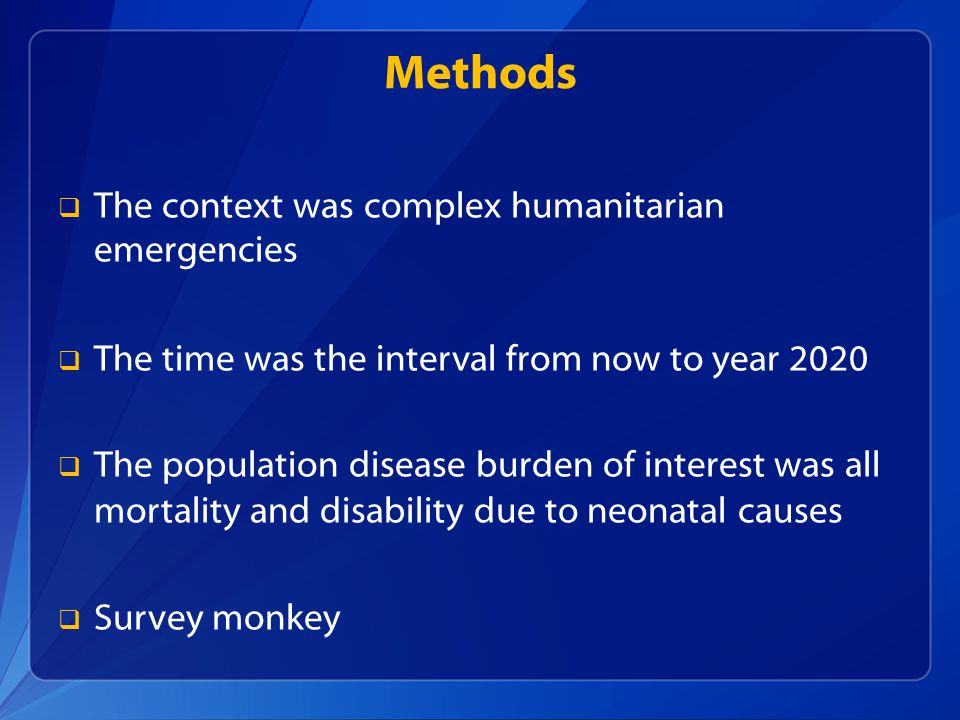 Methods The context was complex humanitarian emergencies