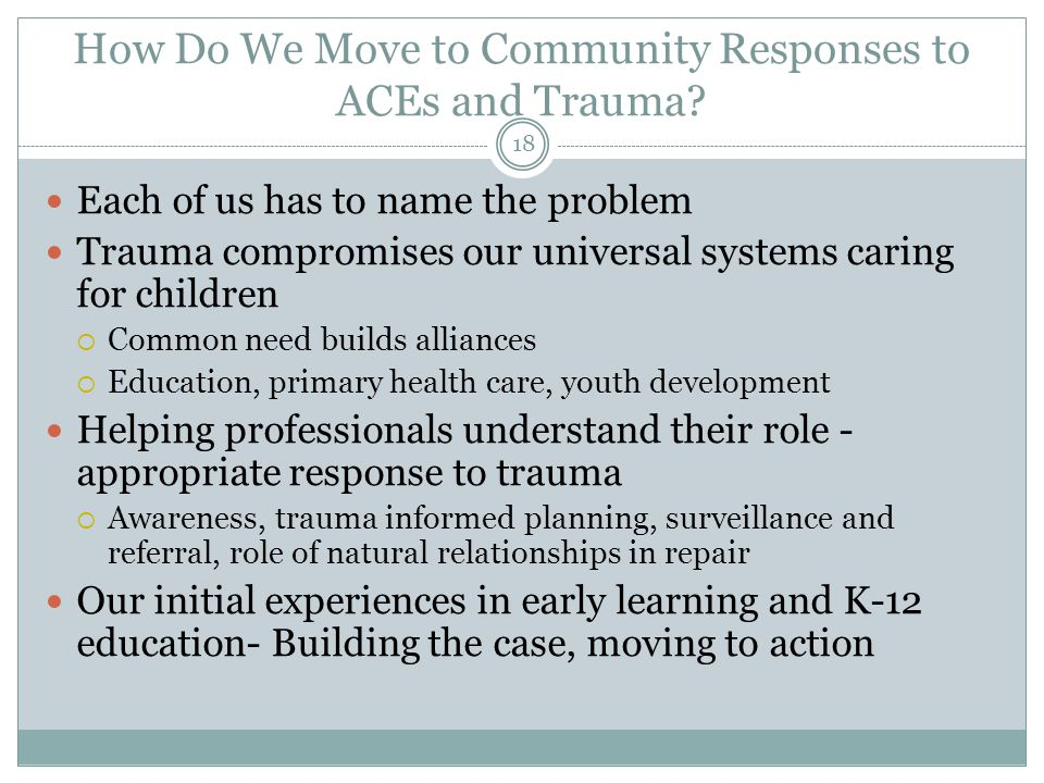 How Do We Move to Community Responses to ACEs and Trauma