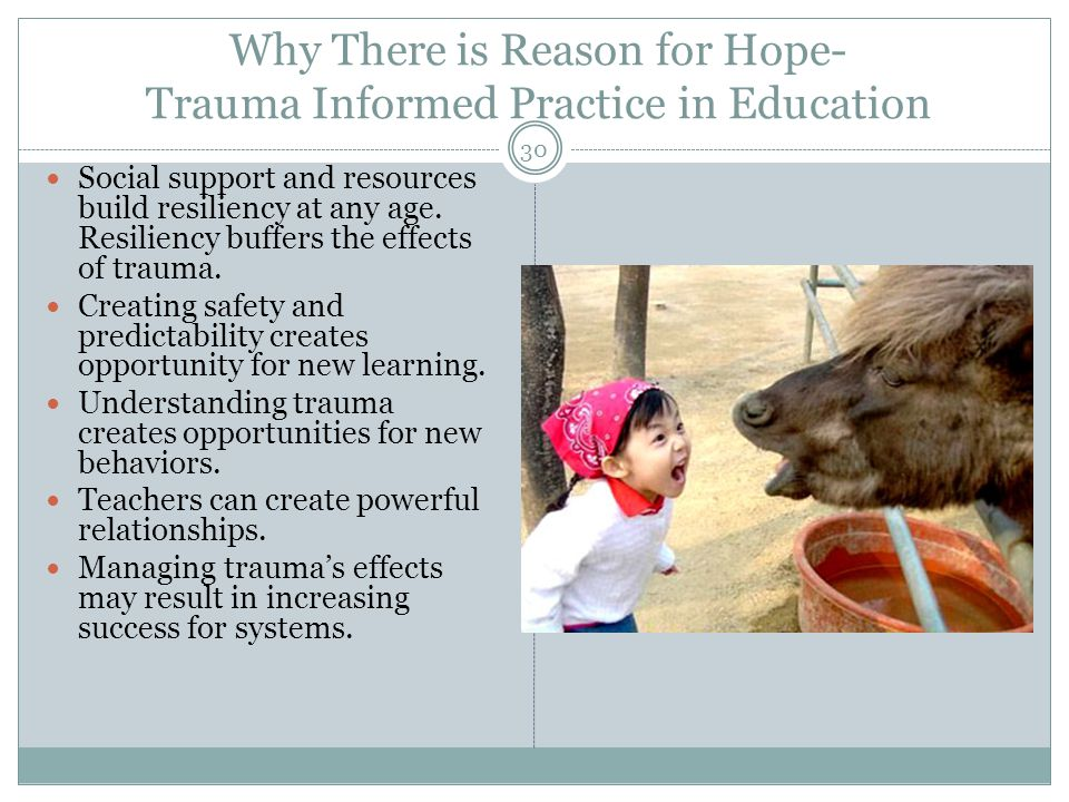Why There is Reason for Hope- Trauma Informed Practice in Education