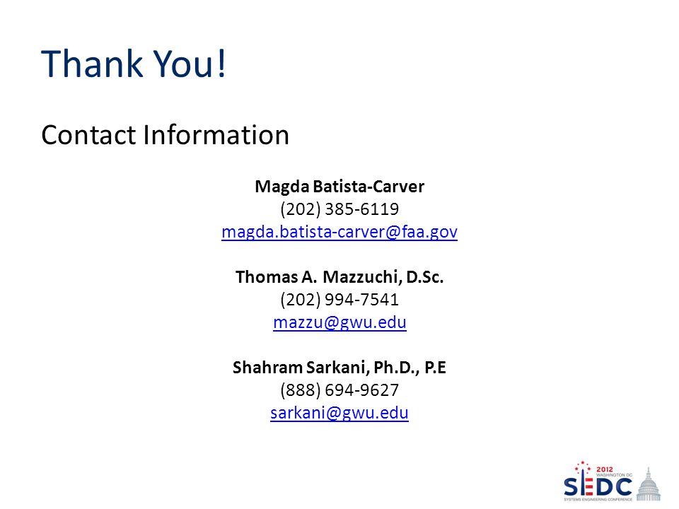 Thank You! Contact Information. Magda Batista-Carver. (202) 385-6119. magda.batista-carver@faa.gov.