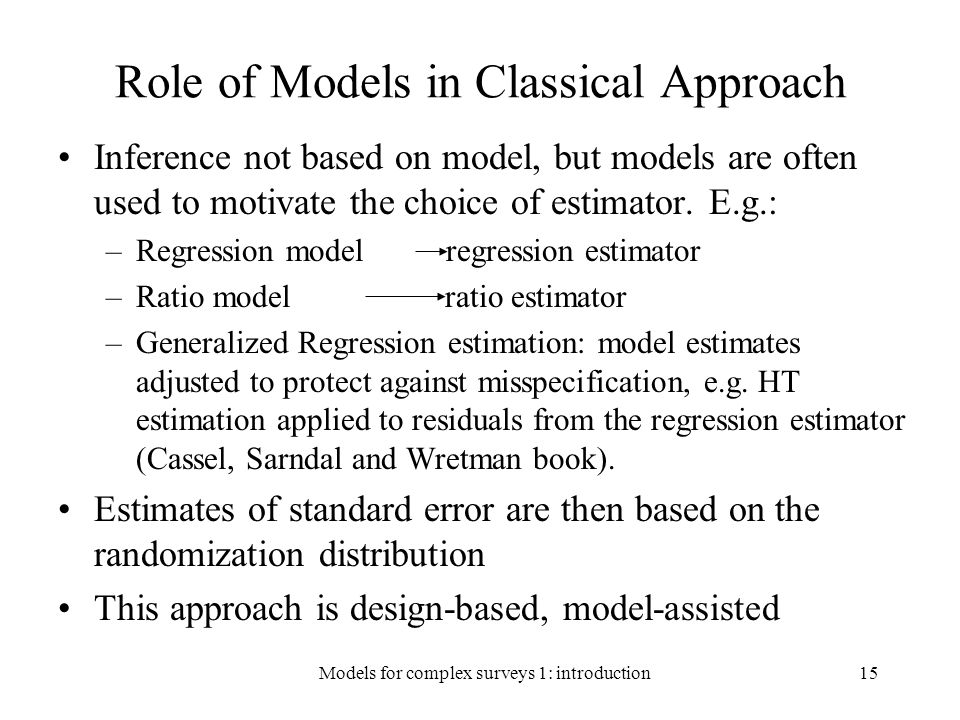 Role of Models in Classical Approach