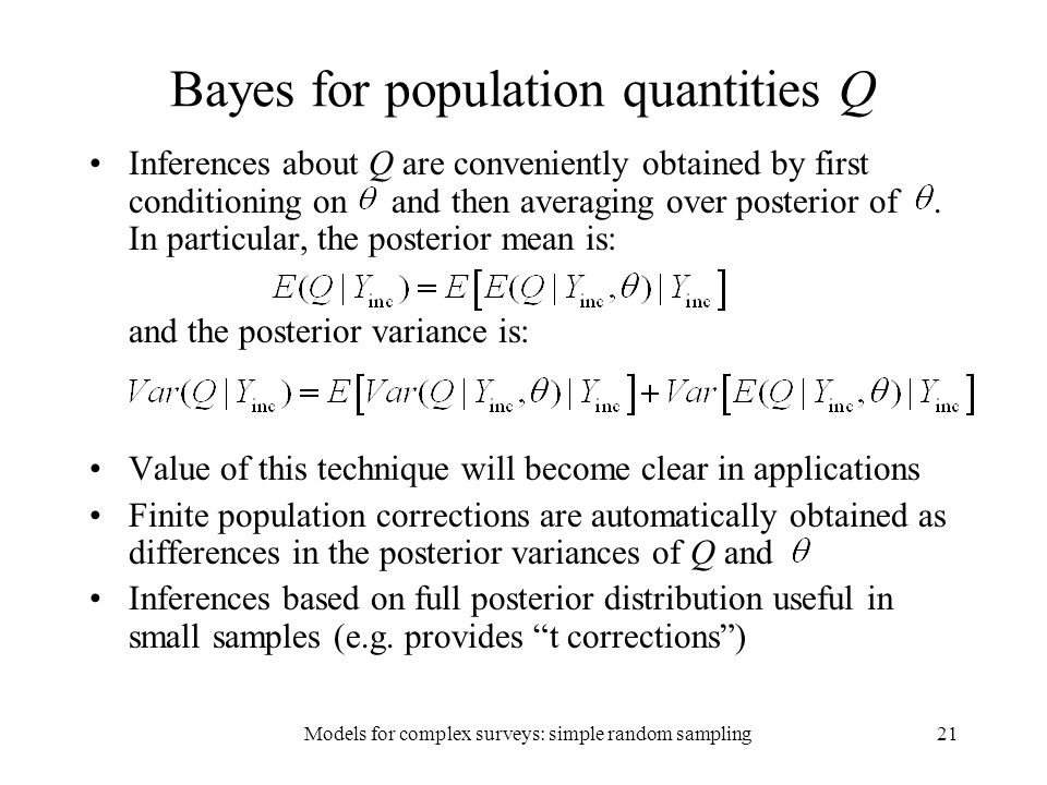 Bayes for population quantities Q