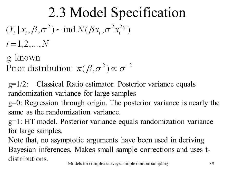 Models for complex surveys: simple random sampling
