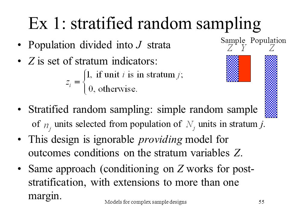 Ex 1: stratified random sampling