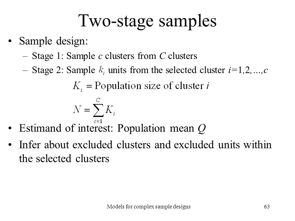 Models for complex sample designs