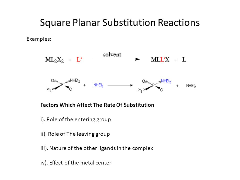 Square Planar Substitution Reactions