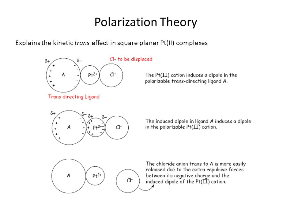 Polarization Theory Explains the kinetic trans effect in square planar Pt(II) complexes