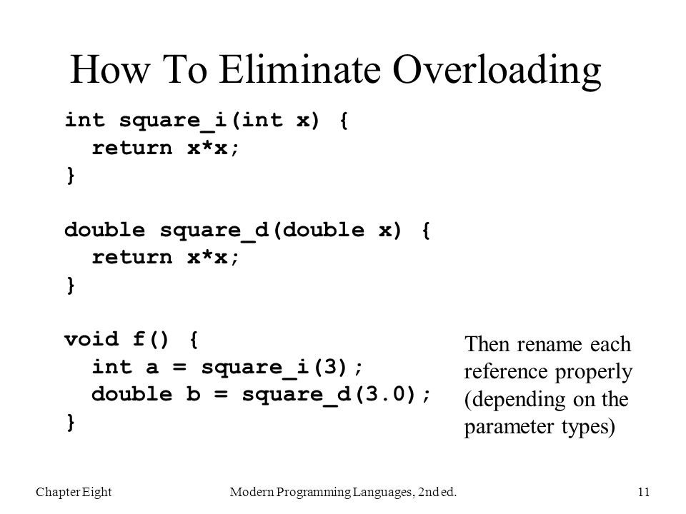 How To Eliminate Overloading