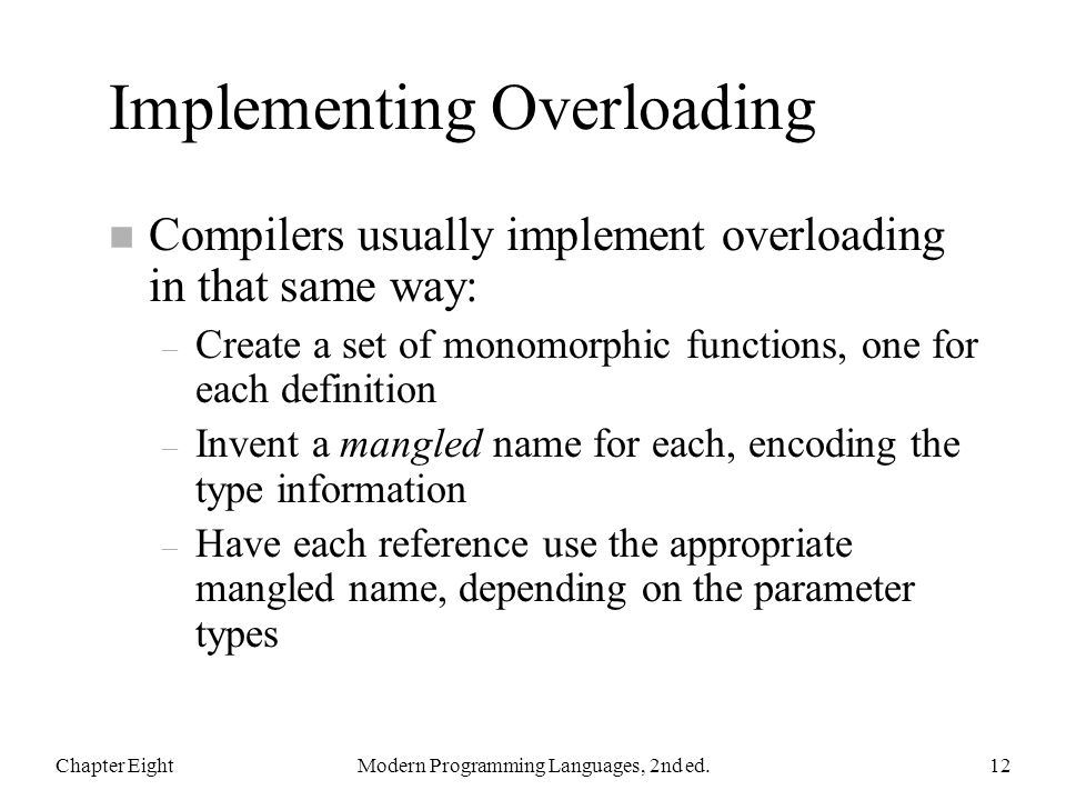 Implementing Overloading