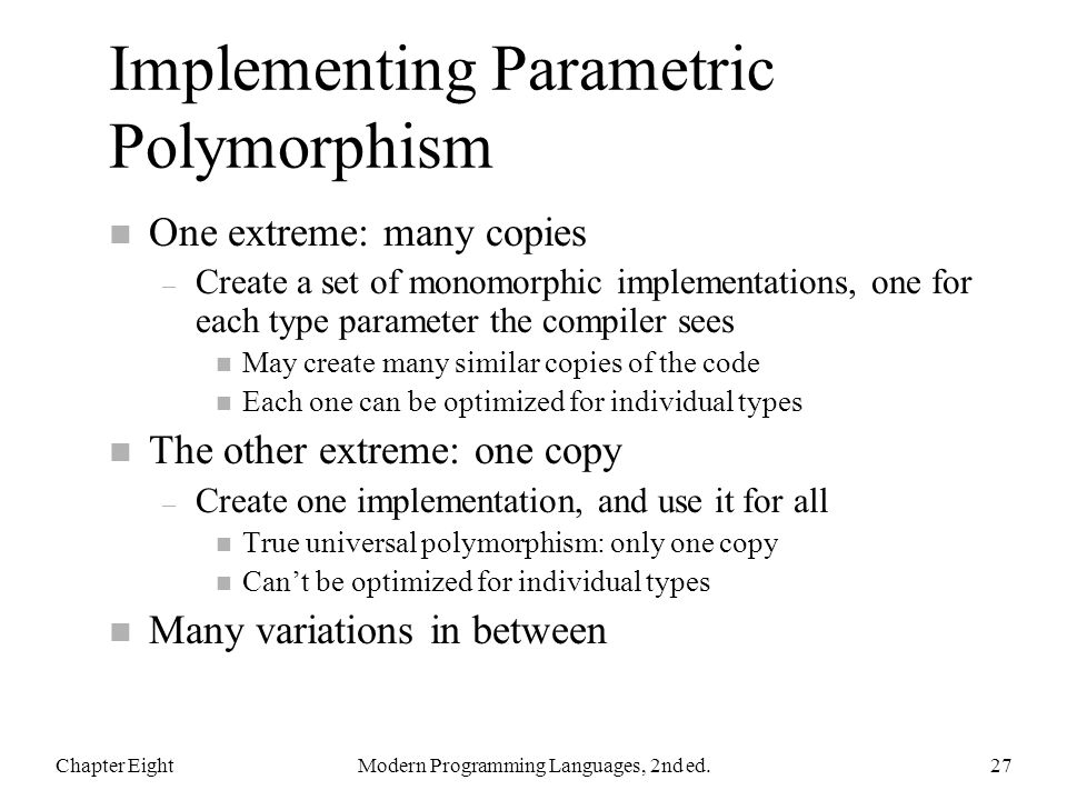 Implementing Parametric Polymorphism