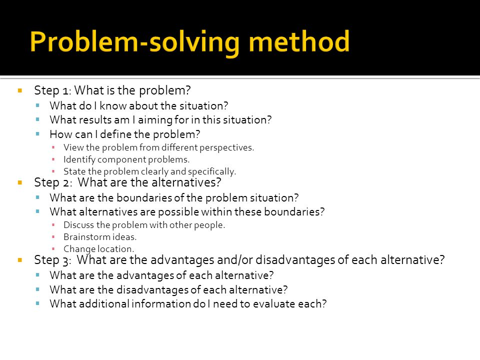 Problem-solving method