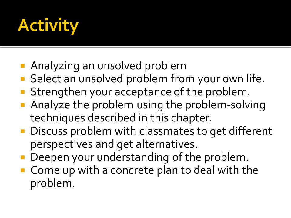 Activity Analyzing an unsolved problem