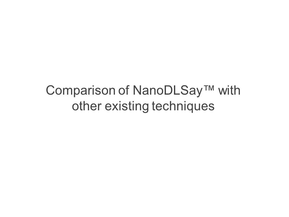 Comparison of NanoDLSay™ with other existing techniques