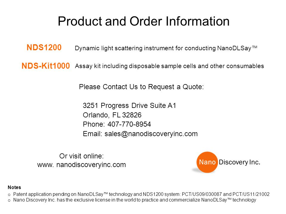 Product and Order Information
