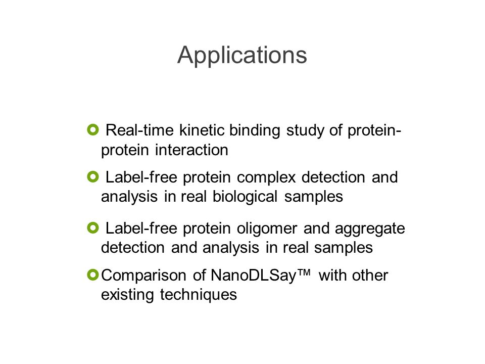 Applications Real-time kinetic binding study of protein- protein interaction.