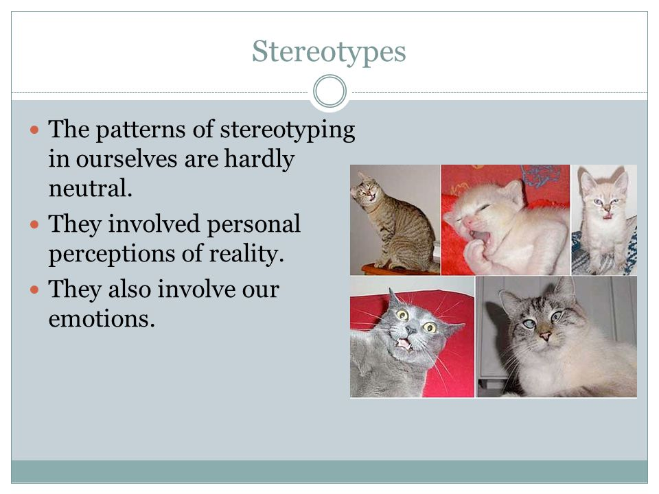 Stereotypes The patterns of stereotyping in ourselves are hardly neutral. They involved personal perceptions of reality.