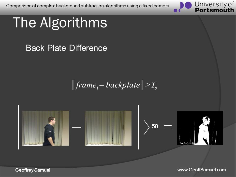 The Algorithms Back Plate Difference │framei – backplate│>Ts 50