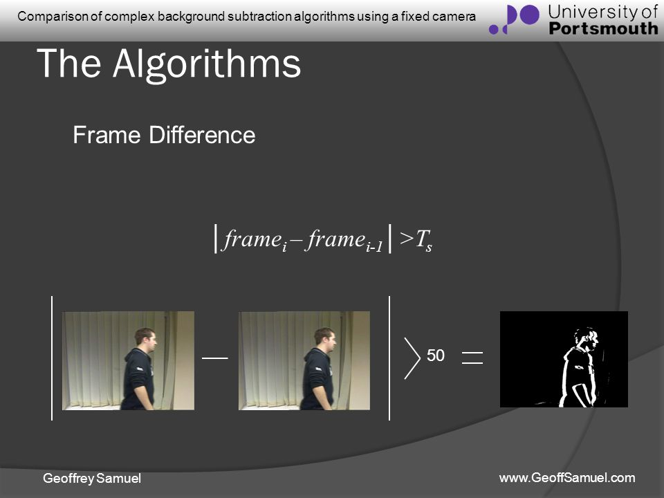 The Algorithms Frame Difference │framei – framei-1│>Ts 50