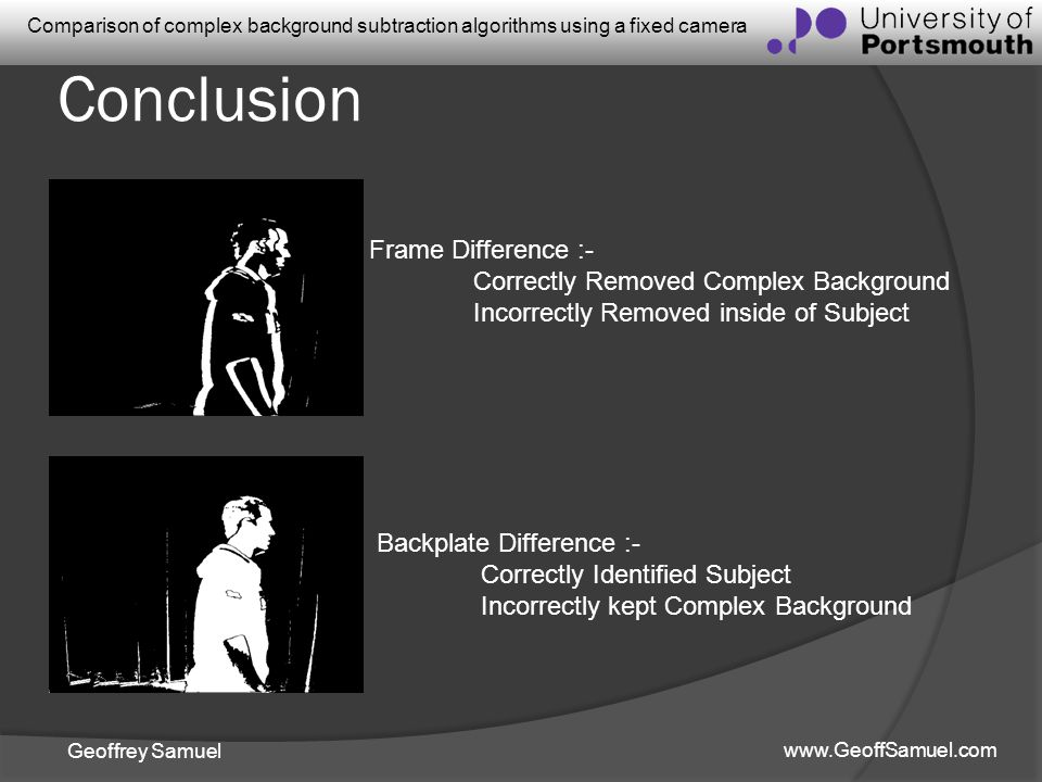 Conclusion Frame Difference :- Correctly Removed Complex Background