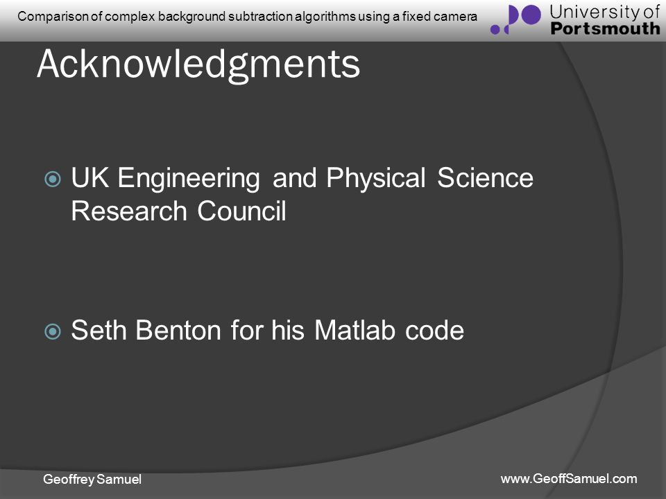 Acknowledgments UK Engineering and Physical Science Research Council