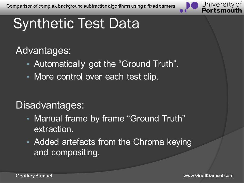 Synthetic Test Data Advantages: Disadvantages: