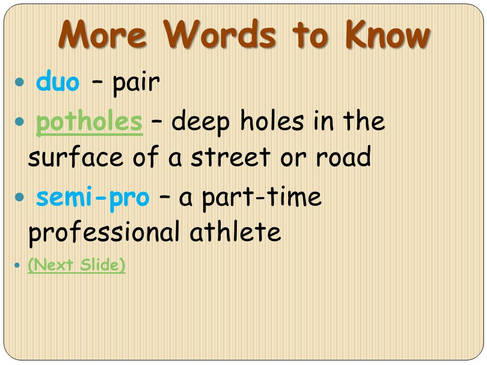More Words to Know duo – pair
