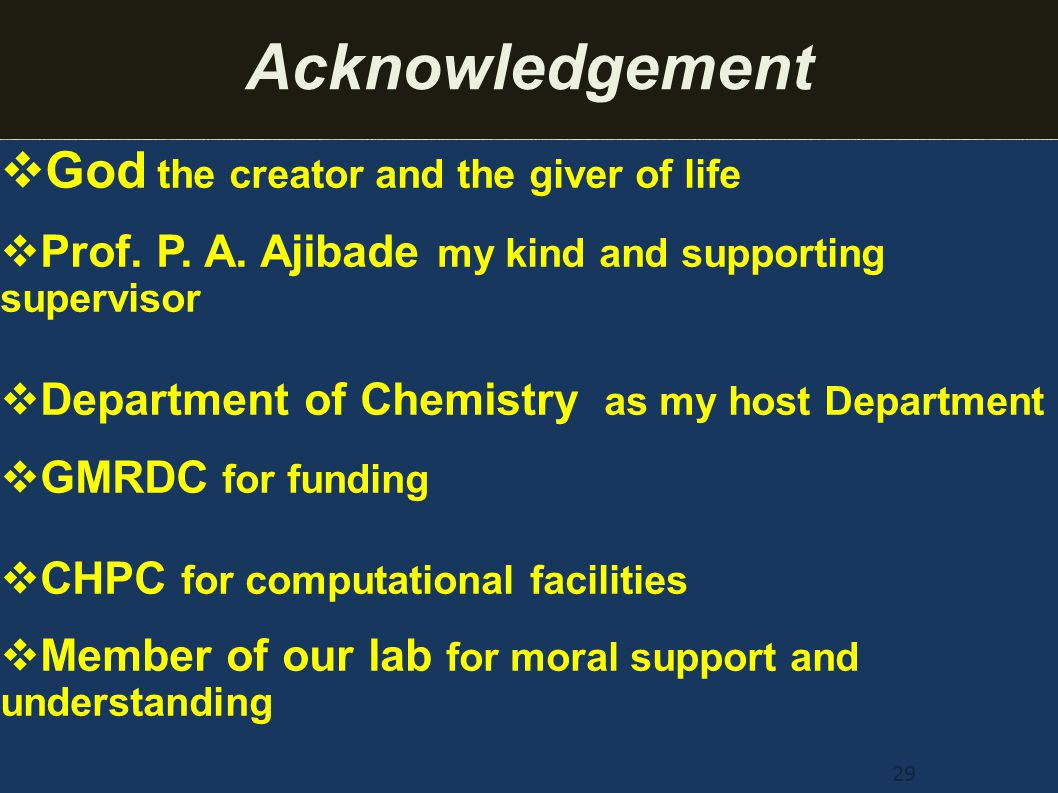 Acknowledgement God the creator and the giver of life