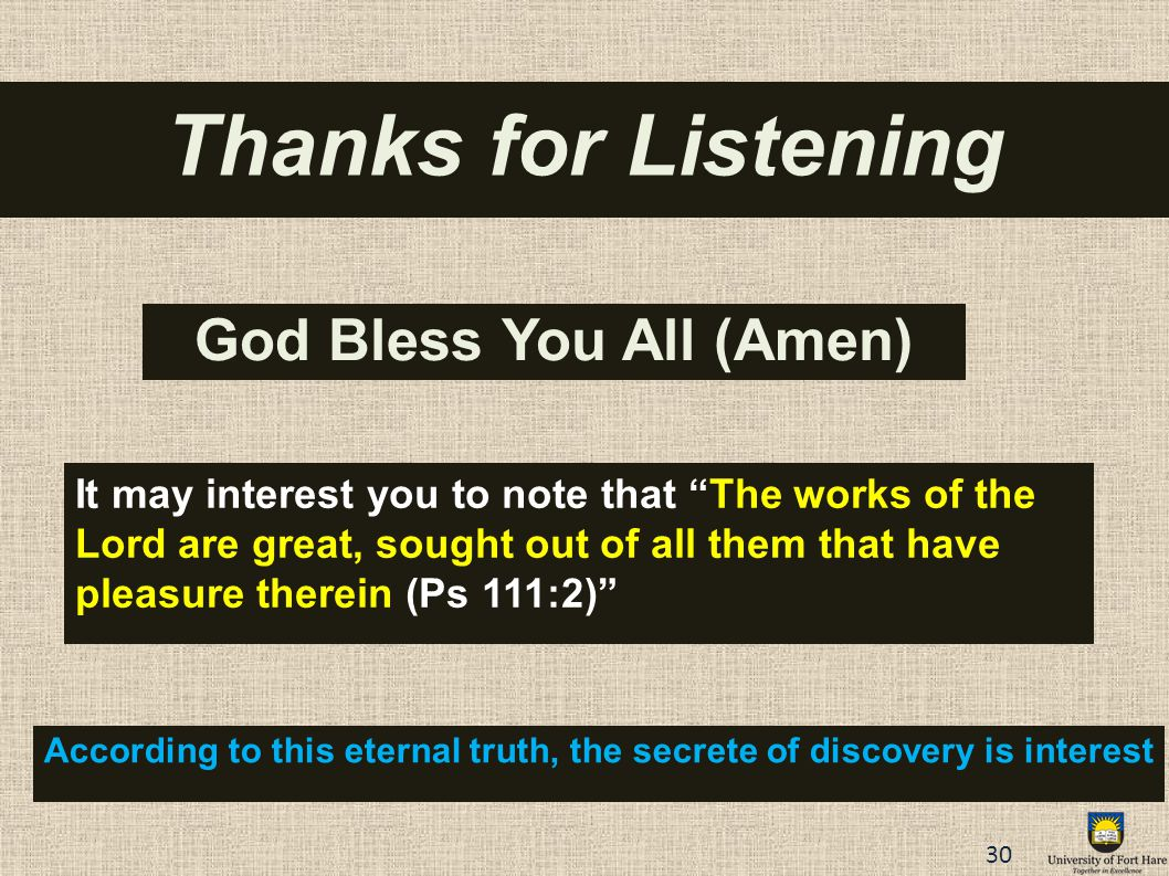 Thanks for Listening God Bless You All (Amen)