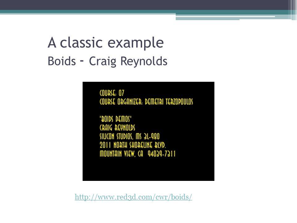 A classic example Boids - Craig Reynolds