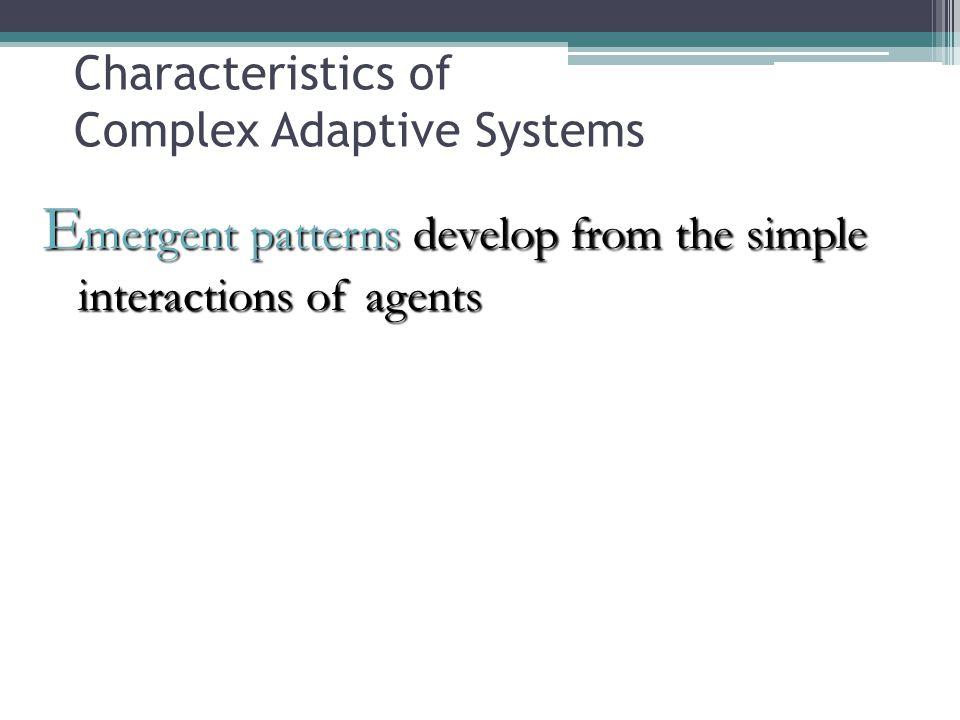 Characteristics of Complex Adaptive Systems