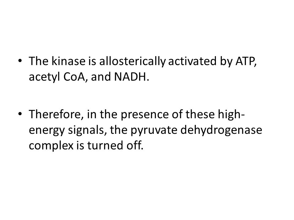 The kinase is allosterically activated by ATP, acetyl CoA, and NADH.
