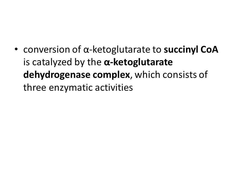 conversion of α-ketoglutarate to succinyl CoA is catalyzed by the α-ketoglutarate dehydrogenase complex, which consists of three enzymatic activities