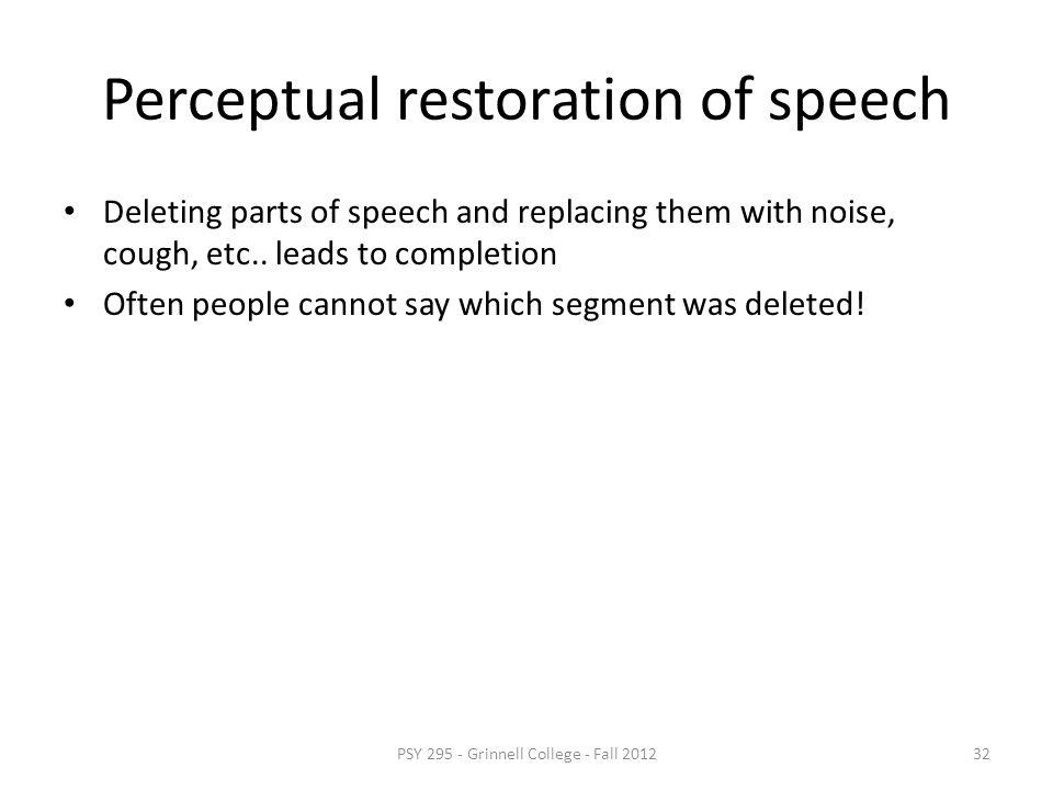 Perceptual restoration of speech