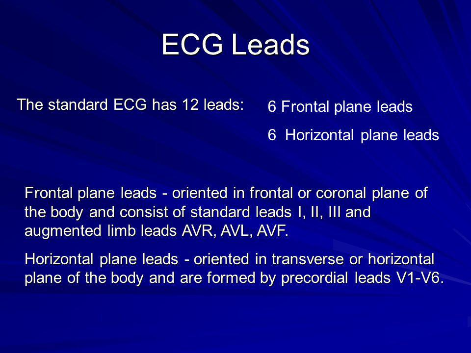 ECG Leads The standard ECG has 12 leads: 6 Frontal plane leads