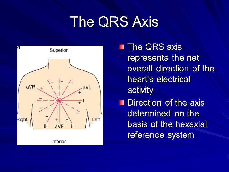The QRS Axis The QRS axis represents the net overall direction of the heart's electrical activity.