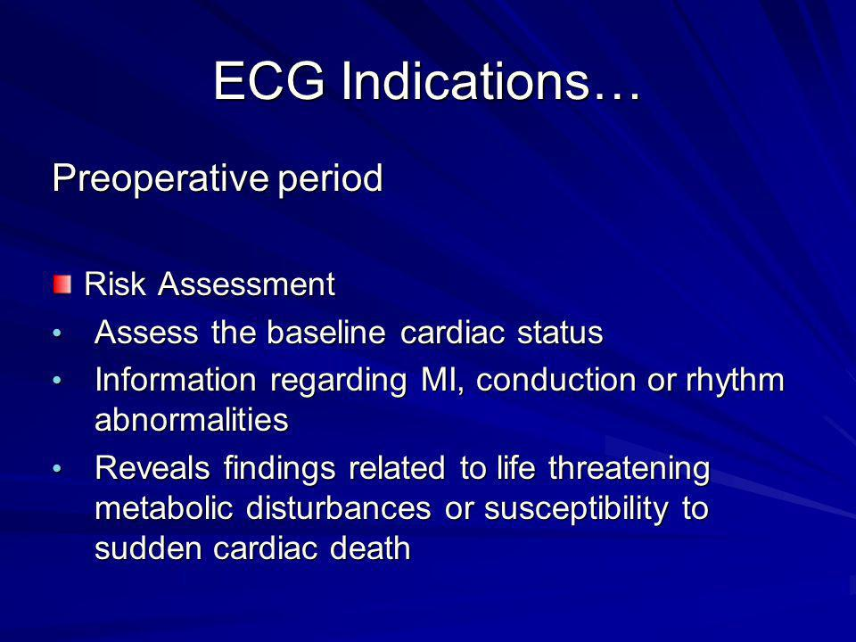ECG Indications… Preoperative period Risk Assessment