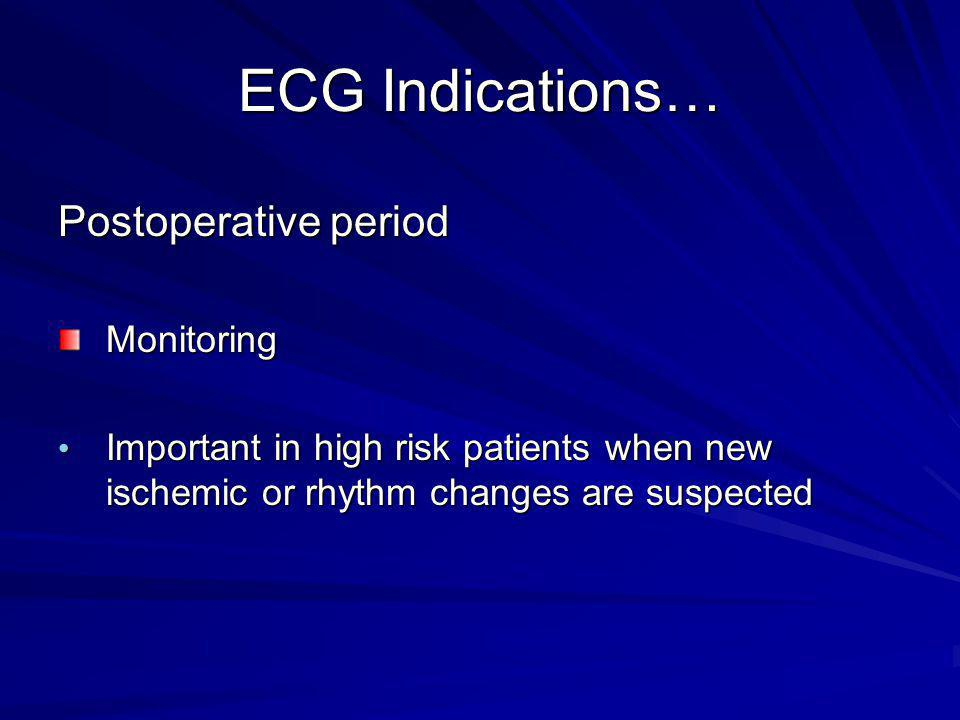 ECG Indications… Postoperative period Monitoring